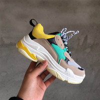 Vintage women dad shoes 2019 V fashion mesh light breathable Women casual balck white shoes platform sneakers tenis feminino
