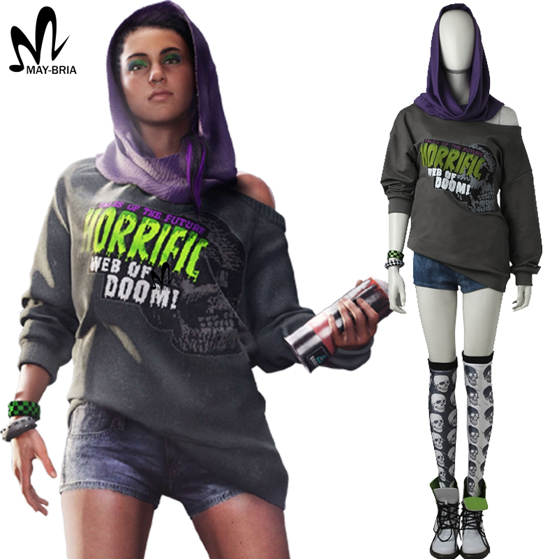 Watch Dogs 2 Sitara Cosplay Costume Halloween costumes adult women Dedsec Sitara costume suit fashion hood suit custom made
