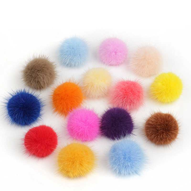 10pc 3cm Diy Pompon Imitation Mink Fur Balls Pompoms For Ring Keychain Shoes Hats Fluffy Pom Pom Diy Crafts Accessories Material