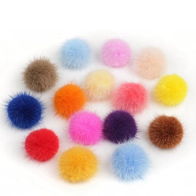 10 pc 3 centímetros Diy Pompom Bolas Pompons Para Anel de Imitação de Pele de Vison Chaveiro Sapatos Chapéus Fluffy Pom Pom Diy acessórios Material de artesanato