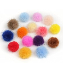1pcs 3cm Diy Pompon Imitation Mink Fur Balls Pompoms For Ring Keychain Shoes Hats Fluffy Pom Pom Diy Crafts Accessories Material(China)