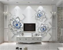 beibehang European creative fashion wallpaper beautiful blue jewelry flowers TV background wall papel de parede 3d