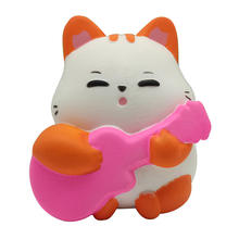 Cat Slow Rising Decompression Squeeze Guitar Cat Slow Rising Decompression Toys Easter Gift Phone Strap #25(China)