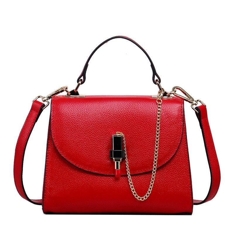 ФОТО 2017 New European Good Qaulity Genuine Leather Handbag  Fashion Red Leather Shoulder Lipstick bag Female Diagonal Handbags