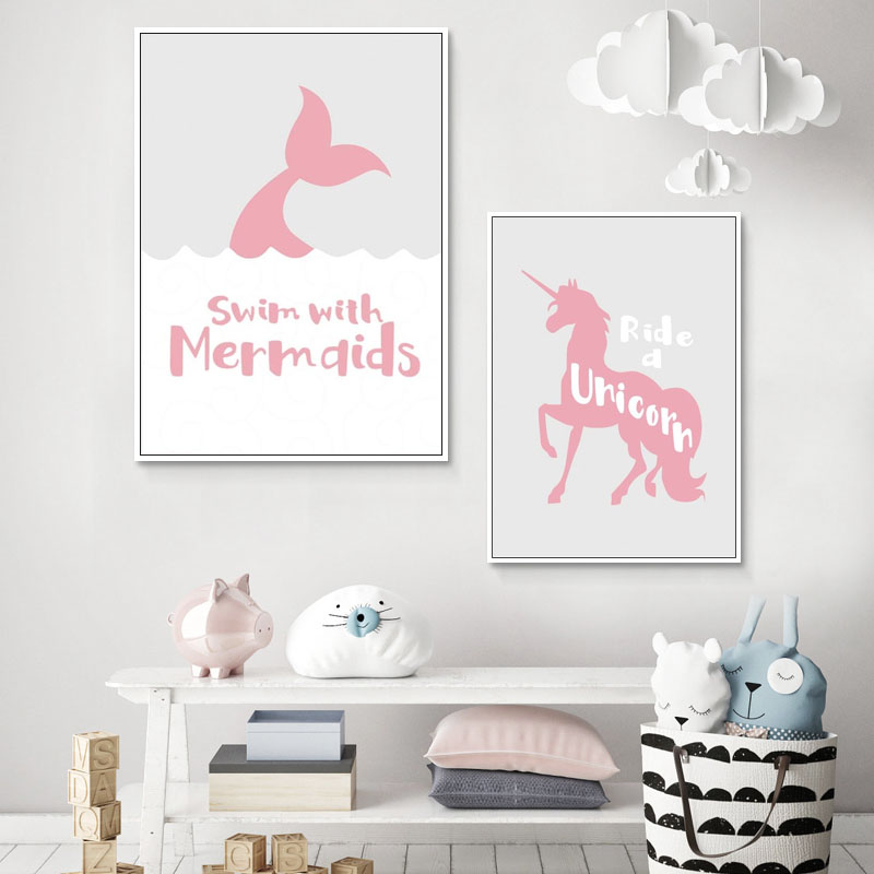 Pink Unicorn Mermaid Modern Poster Print For Girls Bedroom Modular Wall Photos Canvas Art Mural Wall Chart Home Goods Decoration Painting Calligraphy Aliexpress