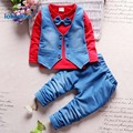 Boys  Clothing   2017 New Fashion  Spring Autumn Cotton Casual Tie Children's Cloth  Suits 2pcs  T-shirt Pants T2685