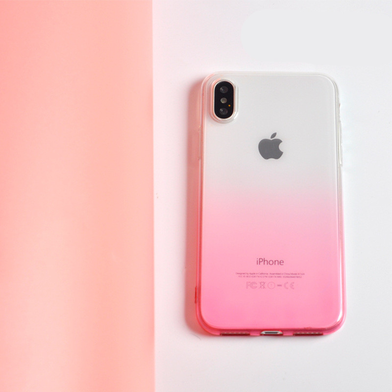 <font><b>Case</b></font> For <font><b>iphone</b></font> X XR XS Max 7 8 Plus Silicone Soft Colorful Translucent Gradient Pink Purple Slim Cover For <font><b>iphone</b></font> <font><b>6s</b></font> 6 5s se image