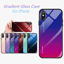 Gradient Tempered Glass Case For iPhone XS XR 7 8 X 6 6S Plus Protective Cover Fundas Max Coque