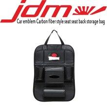 JDM car emblem carbon fiber style car seat back bag storage for toyota honda nissan mazda mitsubishi suzuki accessories цена и фото