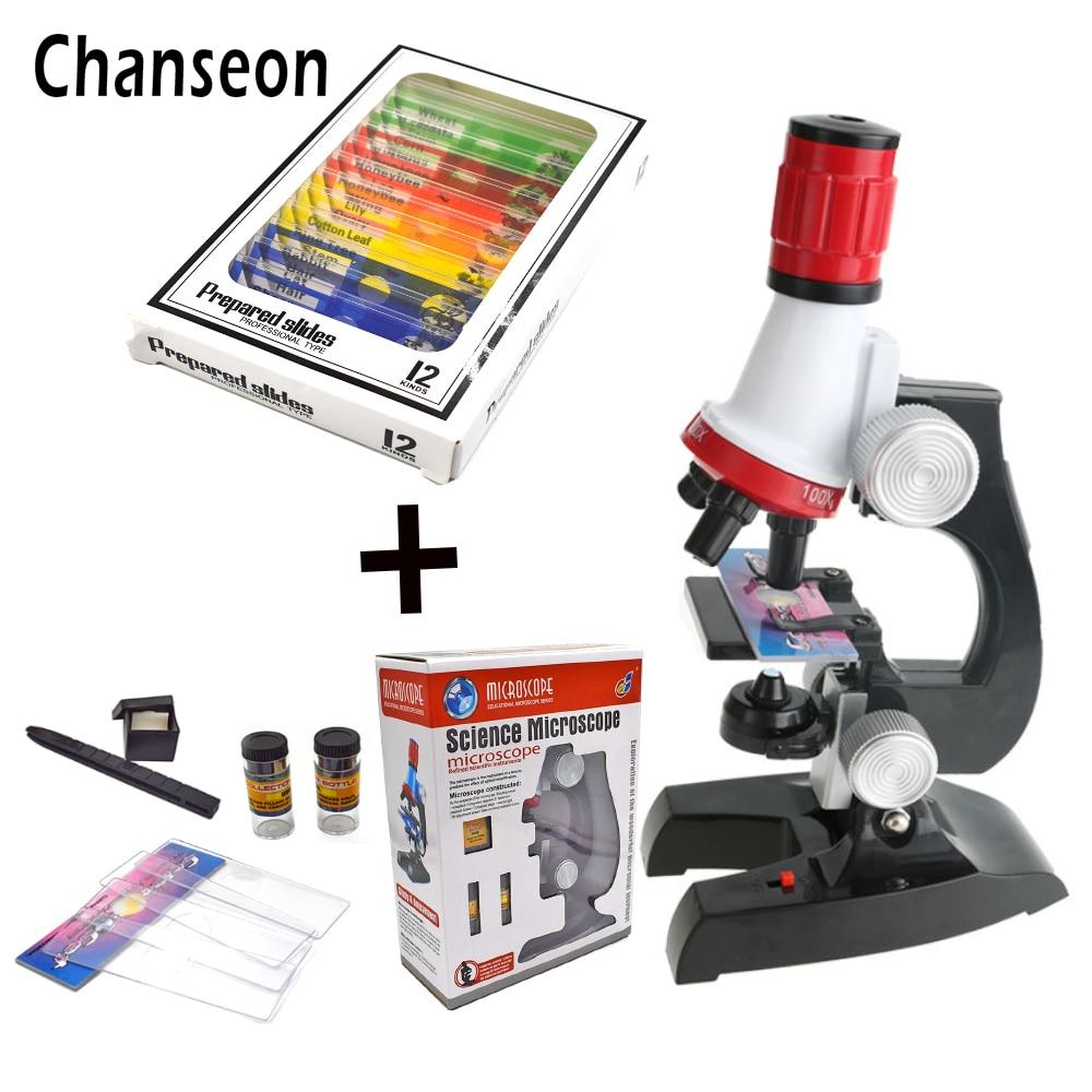 Kit de microscopio LED de laboratorio 100X-400X-1200X microscopio biológico refinado de juguete educativo para niños