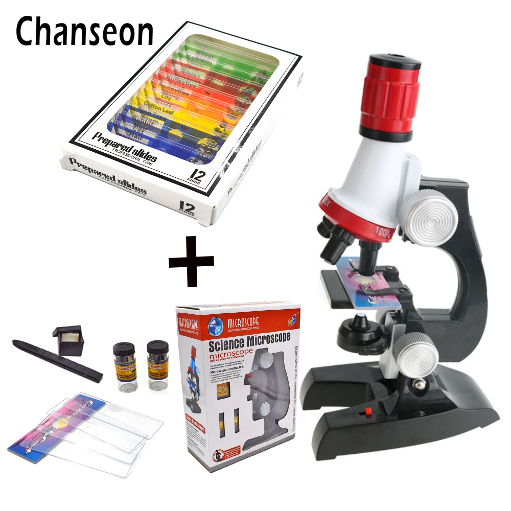все цены на Microscope Kit Lab LED 100X-400X-1200X Home School Science Educational Toy Gift Refined Biological Microscope For Kids Child онлайн