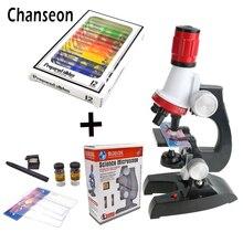 Набор микроскопов лабораторсветодио дный светодиодный 100X-400X-1200X домашняя школа наука обучающая игрушка подарок изысканный Биологический микроскоп для детей ребенок