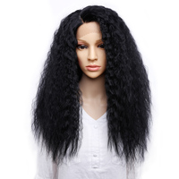 Amir 24inch Synthetic Lace Front Wig For Women Heat Resistant Natural Black Long Kinky Straight Hair Wig For Sale