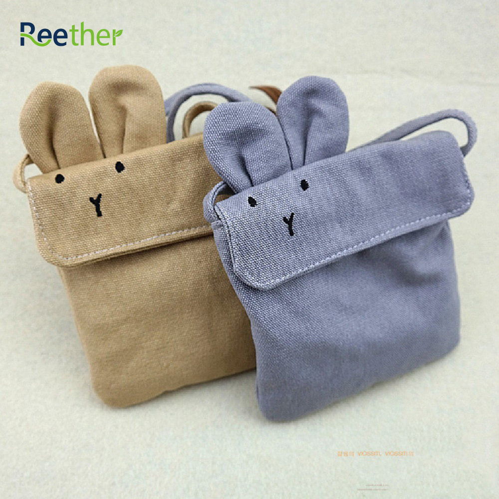 Reether Girls Messenger Bag Kid Small Coin Purse Rabbit Shape Mini Shoulder Bag Wallet Children's Canvas Pouch Decoration Gifts japanese pouch small hand carry green canvas heat preservation lunch box bag for men and women shopping mama bag
