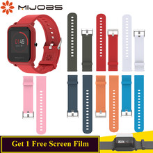 Mijobs for Amazfit Bip Strap Sillicne Band 20mm for Huami Amafit Bip BIT PACE Sport Smart Correa Strap for xiaomi Amazfit Wrist(China)