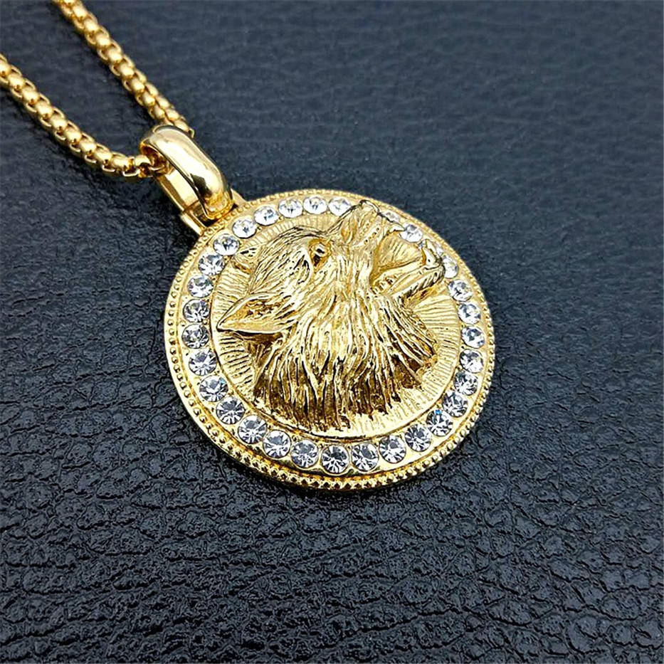 Iced Out Wolf Head Necklaces Pendants For Women/Men Gold Color Stainless Steel Rhinestones Necklace Hip Hop Bling Jewelry