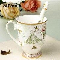 YeFine Patrón de Diseño de Moda Elegante taza de Café Taza de Leche Taza De Cerámica Tazas De Té De Porcelana Regalo Taza del desayuno De Linda Chica Con cuchara