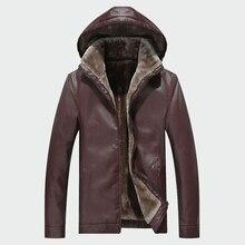 Erkek DERİ CEKETLER kış sıcak PU kapşonlu palto artı kalın rüzgar geçirmez Biker motosiklet giyim marka giyim M 4XL