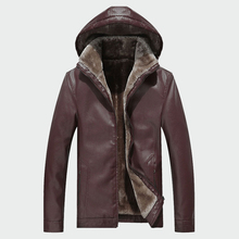 Mens Leather Jackets Winter Warm PU Hooded  Coats Plus Thick Windproof Biker Motorcycle Outerwear Brand Clothing M 4XL