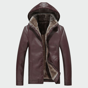 Image 1 - Mens Leather Jackets Winter Warm PU Hooded  Coats Plus Thick Windproof Biker Motorcycle Outerwear Brand Clothing M 4XL