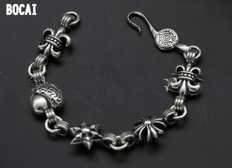 925 sterling silver bracelet men and women models punk style Thai silver old fashion Gothic bracelet gothic style faux crystal rose bracelet with ring for women