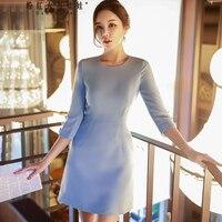 original 2018 brand sukienki damskie spring autumn three quarter sleeve pearls brief elegant OL midi dress women wholesale