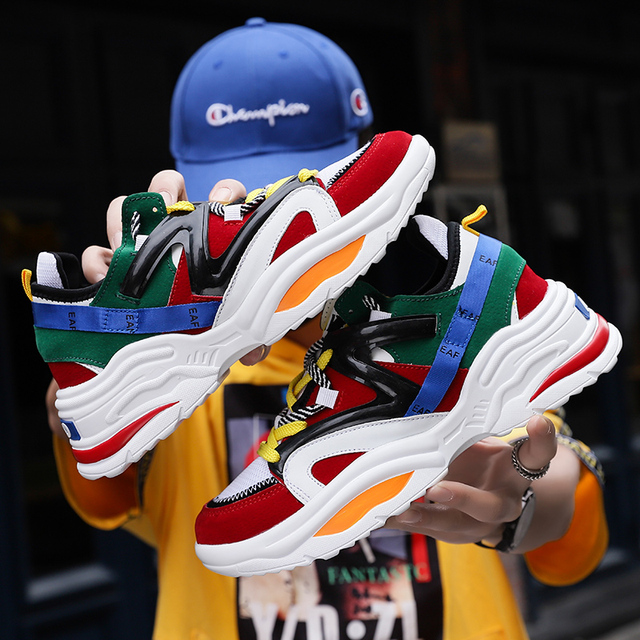 2019 Harajuku Outono Do Vintage Sapatilhas Dos Homens Malha Respirável Sapatos Casuais Homens Moda Confortável Tênis Tenis Masculino Adulto
