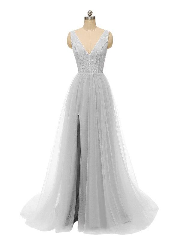Сексуальное вечернее платье с v-образным вырезом, с бусинами, с открытой спиной, а-силуэт, Длинные вечерние платья, вечерние платья с высоким разрезом, фатиновые платья для выпускного вечера - Цвет: Grey
