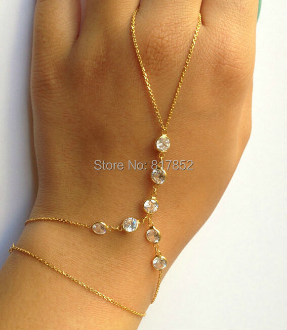 NEW STYLE H13 WOMEN FASHIONGOLD PLATED CHAINS GOLE RHINESTONE CHAINS HAND CHAINS FINGER CHAINS JEWELRY 2 COLORS