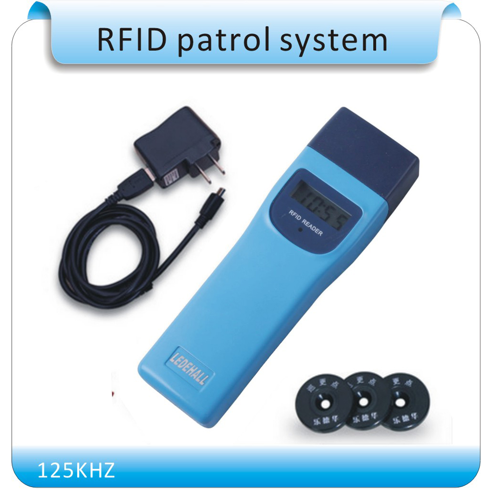 Free shipping LDH-686 125KHZ RFID guard tour system guard patrol management reader automatic reading waterproof switzerland em sensor reader rfid guard tour system