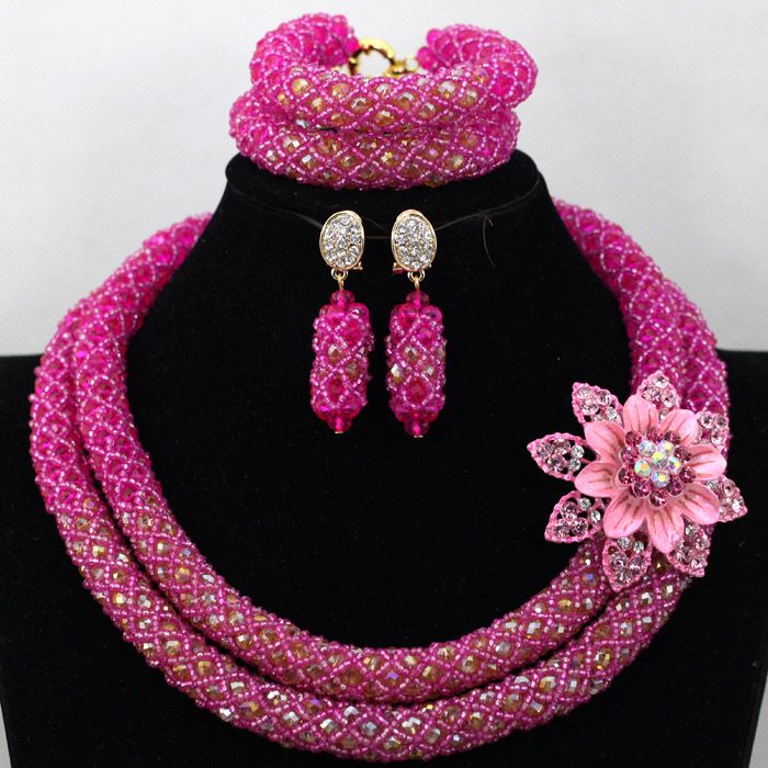 Gorgeous Fushia Pink African Women Bride Crystal Costume Jewelry Set Handmade Beaded Necklace Earrings Bracelet Party Set QW728Gorgeous Fushia Pink African Women Bride Crystal Costume Jewelry Set Handmade Beaded Necklace Earrings Bracelet Party Set QW728