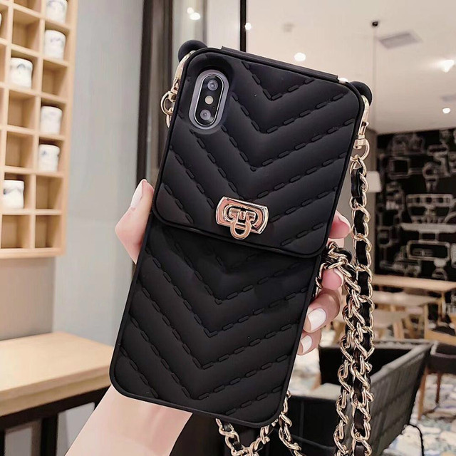 Card Slot Long Shoulder Strap Chain Case Cover for Iphone 11 XR XS MAX 6 7 8 Plus XS X Case Fashion Crossbody Wallet Case Coque