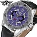Vencedor homens relógio de moda relógio de pulso pulseira de couro Autoamtic Steampunk analógico clássico roxo WRG8064M3S3