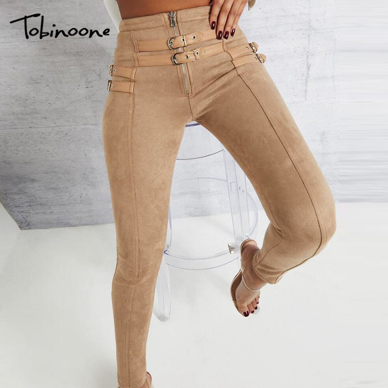 Tobinoone Suede high waist pencil pants capris Women bottom sash streetwear casual pants 2019 Autumn chic black winter trousers