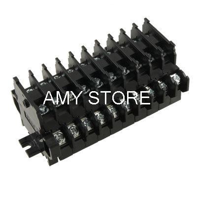 600V 10A DIN Rail Dual Row 10 Position Screw Terminal Block Barrier Strip TBD-10A