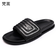 Summer Genuine Leather mens slippers British thick bottom casual breathable fender summer men genuine leather cowhide