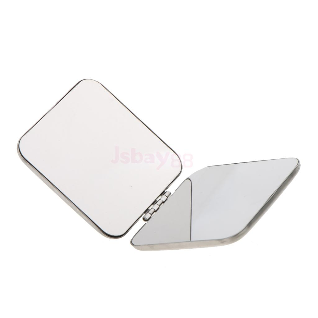 Pocket Mini Square Compact FULL STAINLESS STEEL Cosmetic Foldable Makeup Mirror Magnifying Mirror Will not Break into Pieces animal print square foldable mirror