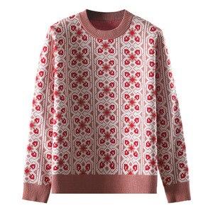 Image 5 - Vintage doux multicolore Plaid Jacquard tricot Pull femmes à manches longues en vrac dames pulls décontracté Pull Femme C 424