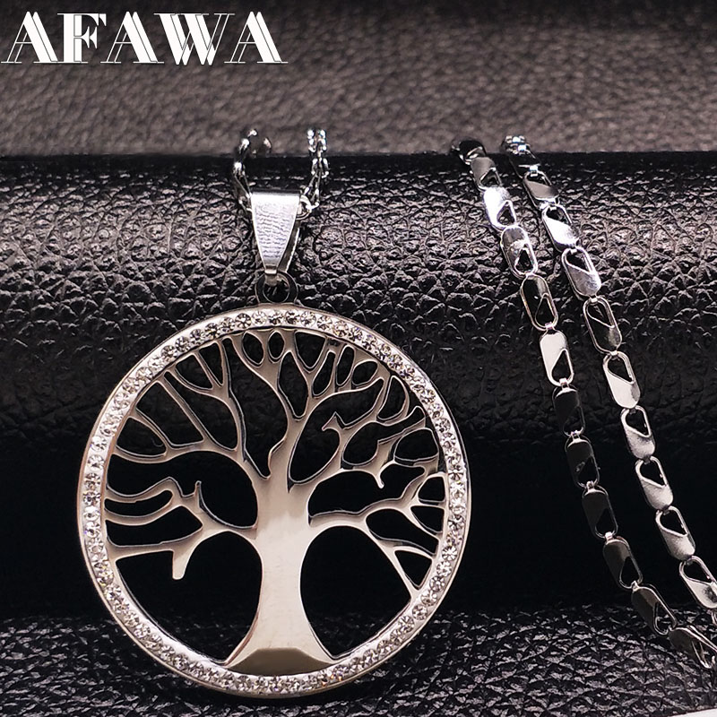 2019 Moda Crystal Stainless Steel Tree of Life Necklaces Tree Bohemian Choker Necklace Jewelce For Women collane donna N3309