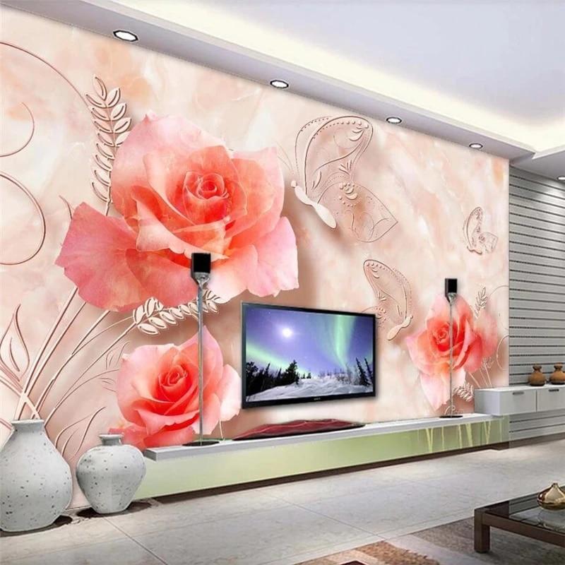 Custom Wallpaper 3d Sunflower Flower Fashion Tv Background Wall Living Room Best Marble Rose Butterfly Papier Peint 3d Wallpaper Wallpapers Aliexpress