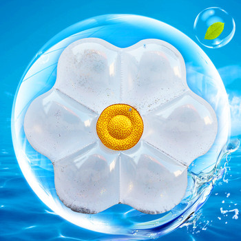 160cm Glitter Daisy Flower Inflatable Pool Float for Women Summer Beach Water Floating Row Sunflower Swimming Raft Air Mattress