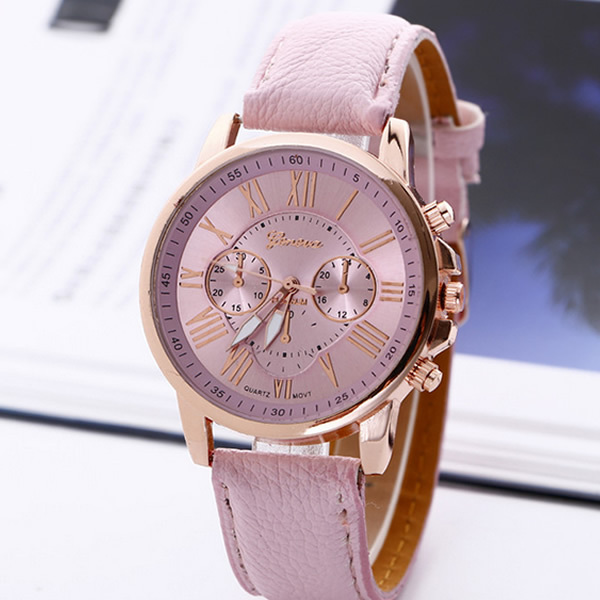 2017 New Fashion Geneva Watches Roman Numerals Faux Leather Quartz Watch Women Men Casual Wrist Watch relogios feminino Hours 2