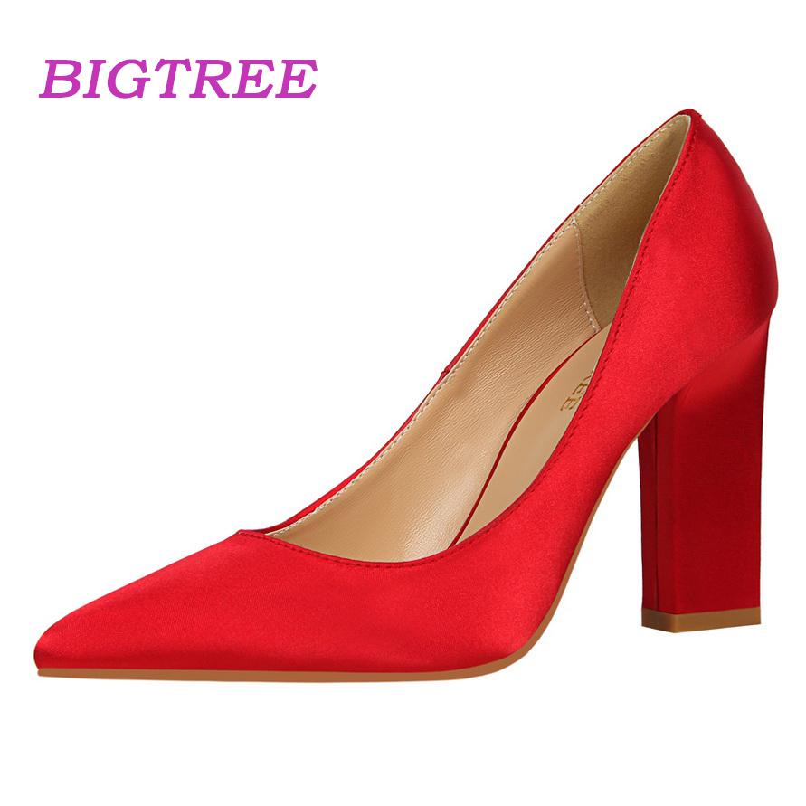 BIGTREE Brand 2017 Women Luxury Office Suede Pumps Female 9 5cm Block Square High Heel Scarpin