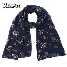 Winfox Navy Shiny Bronzing Gold Smaller Fish Long Scarves Shawl For Women Female Christmas Gifts