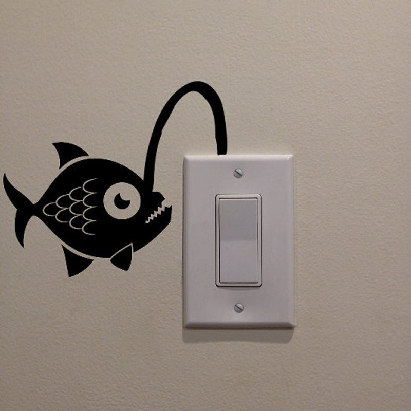 Angler Fish Art Switch Sticker Living room Bedroom Decorative Wall Stickers Vinyl Waterproof Murals JG1955