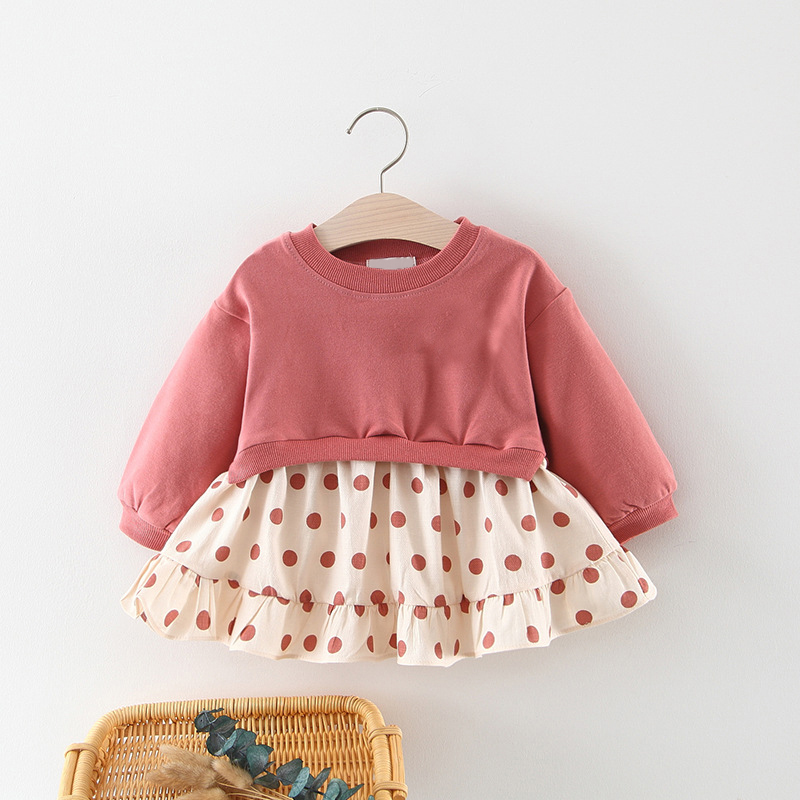 Girls Baby Clothes 2019 Spring New Solid Color Long-Sleeved T-Shirt + Polka Dot Skirt Baby Clothes Children Clothes Girls Dress