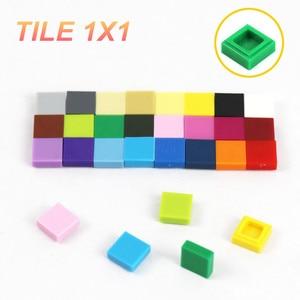Image 2 - 2000 pçs telha plana 1x1 com sulco diy blocos de construção qr código acessórios brinquedos suave moc acabamento do carro peças tijolos telha 3070