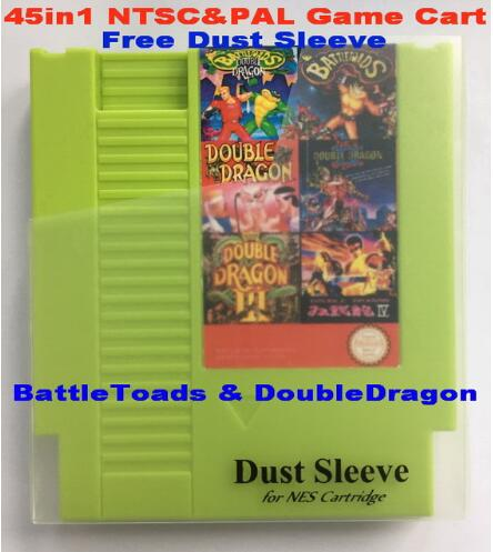 BattleToads & DoubleDragon 45in1 NTSC & PAL-spel, 72 st NES Game Cart Replacement Shell, Free Dust Sleeve