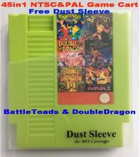 BattleToads & DoubleDragon 45in1 NTSC&PAL Games, 72 Pins NES Game Cart Replacement Shell, Free Dust Sleeve