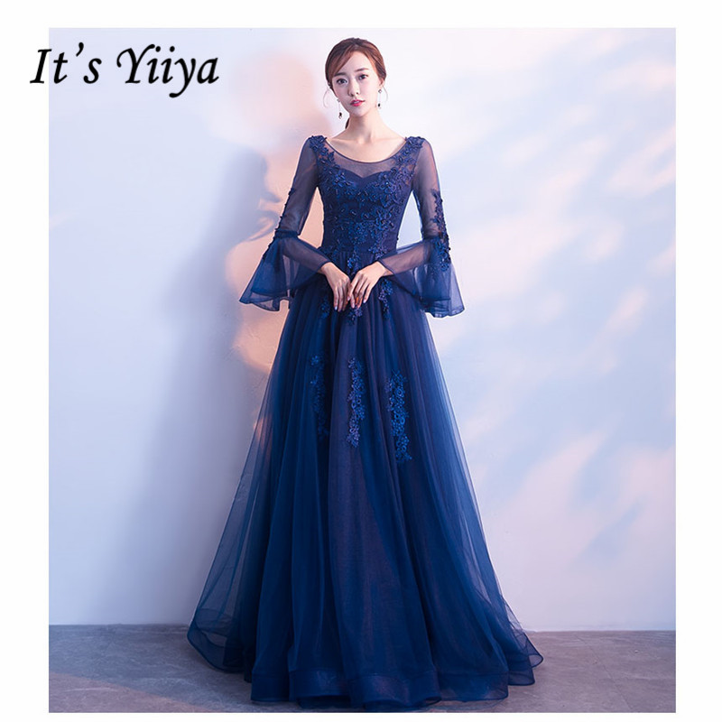 It's YiiYa Evening Dress 2019 Royal Blue Embroid Beeding Slim Long Women Party Dress Flare Sleeve Robe De Soiree Plus Size E501